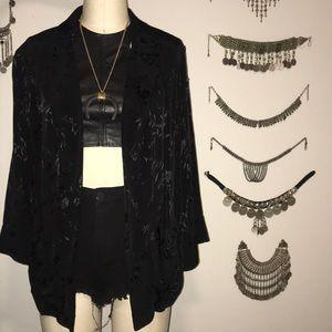 Topshop Black Jacquard Jacket Blazer